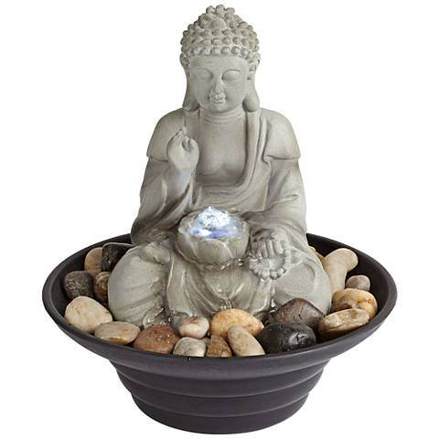 "Sitting Buddha 10"" High LED Tabletop Zen Fountain"