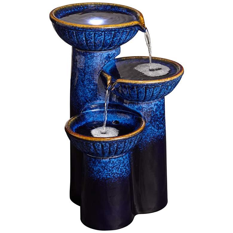 """3-Bowl 26 3/4"""" High Blue Cobalt Ceramic LED Fountain"""
