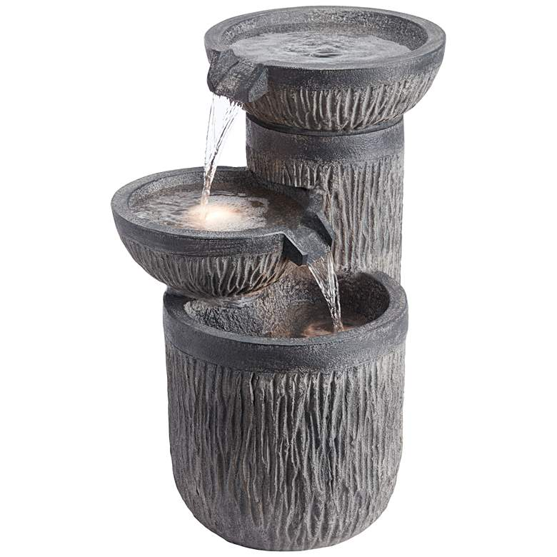 "Griffin 21 1/2"" High Indoor/Outdoor LED Three-Tier Fountain"