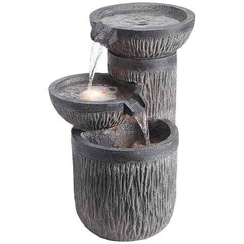 """Griffin 21 1/2"""" High Indoor/Outdoor LED Three-Tier Fountain"""