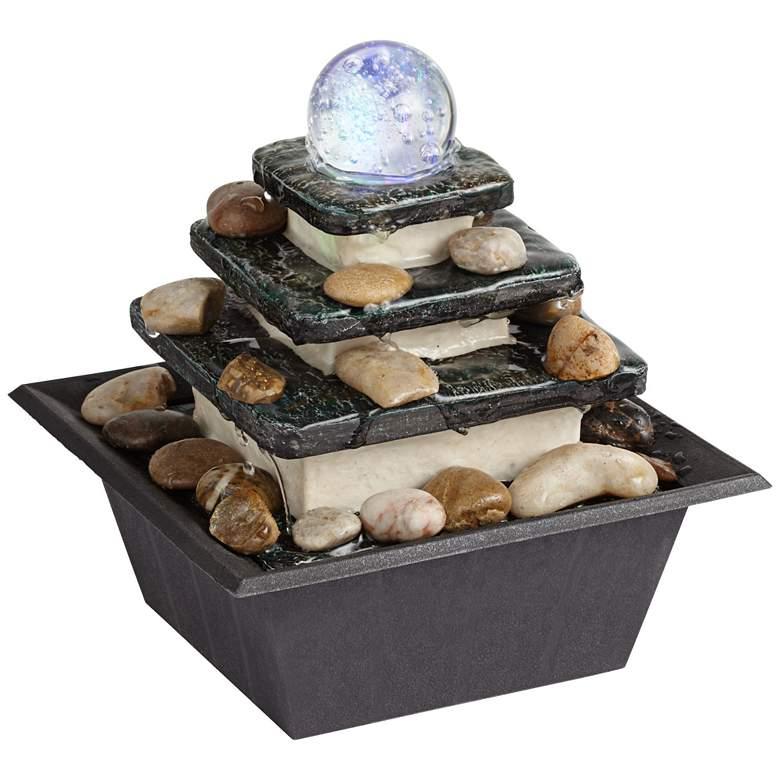 "Rolling Ball 7"" High Three Tier Tabletop Zen Fountain"