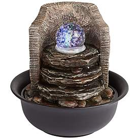 Rock Stack And Ball 10 1 4 High Tabletop Fountain