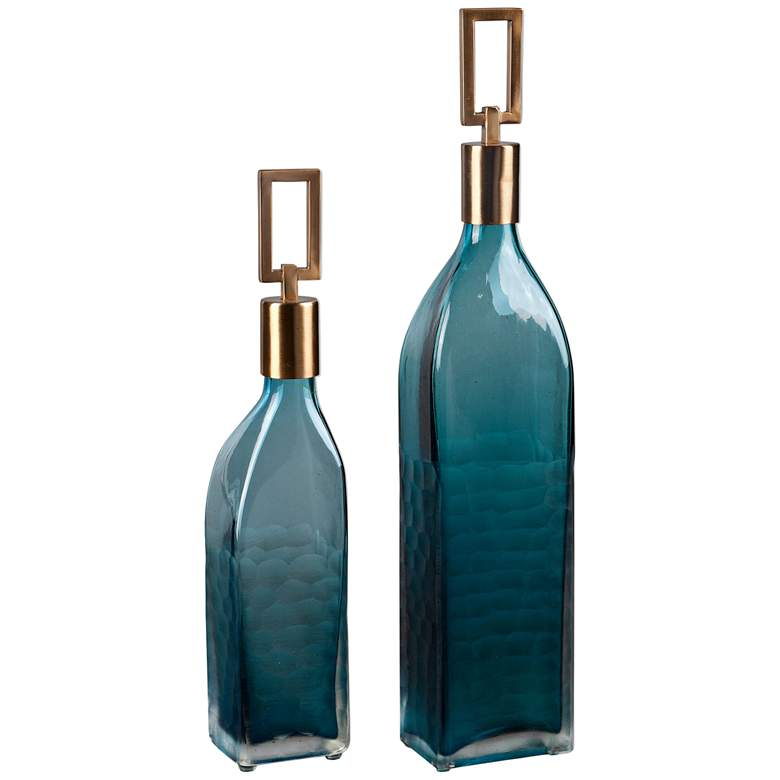 Annabella Teal Green Glass 2-Piece Decorative Bottles Set