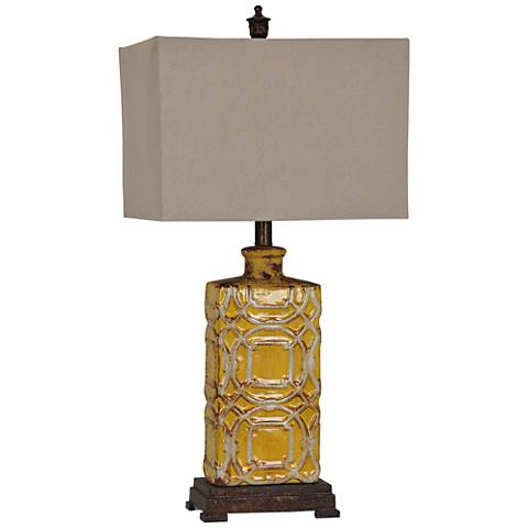 Chatham Antique Yellow Ceramic Table Lamp