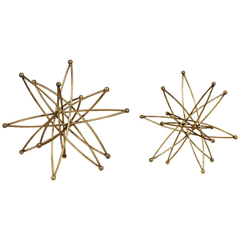 Constanza Gold Finish Modern Geometric Accents - Set
