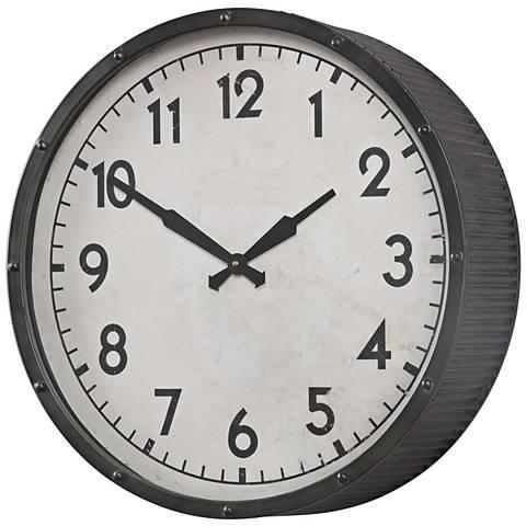 "Uttermost Berta Aged Black 22"" Round Wall Clock"