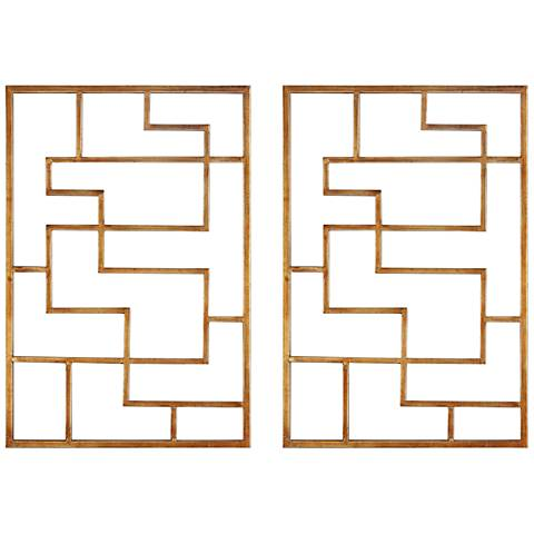 "Uttermost Quaid Gold leaf 24"" High Metal Wall Art Set of 2"