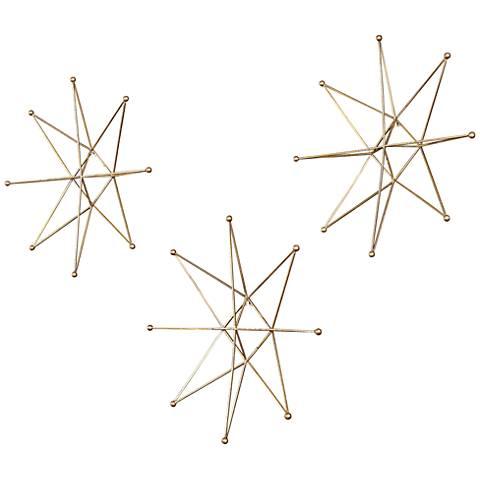 """Uttermost Gold Stars 18 1/2"""" High Metal Wall Art Set of 3"""