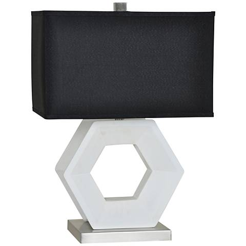 Crestview Collection Hex Glossy White and Silver Table Lamp