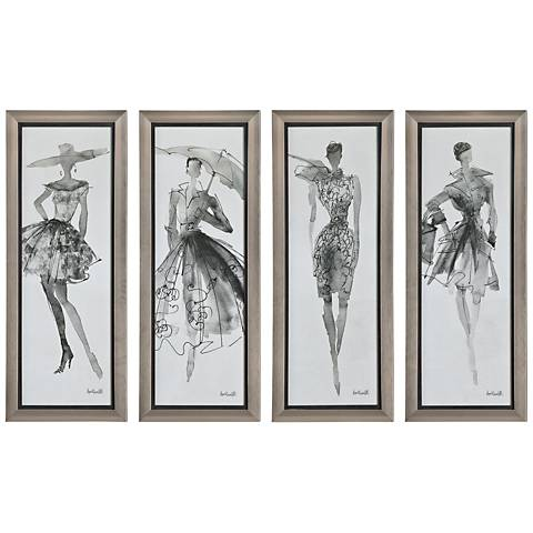 "Fashion Sketchbook 4-Piece 39 3/4"" High Frame Wall Art Set"