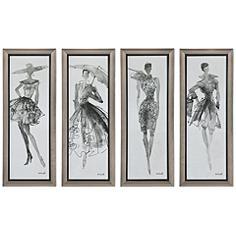 "Fashion Sketchbook 4-Piece 39 3/4"" High Frame Wall Art Set"