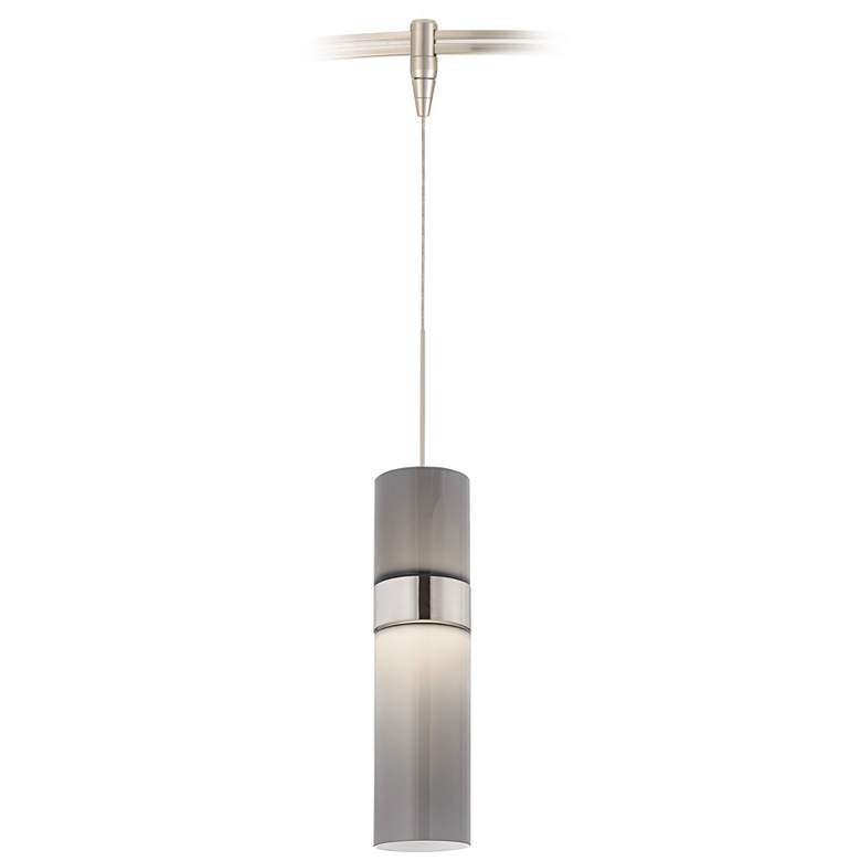 "Manette 3 1/2""W Nickel Smoke Glass Monorail LED Mini Pendant"