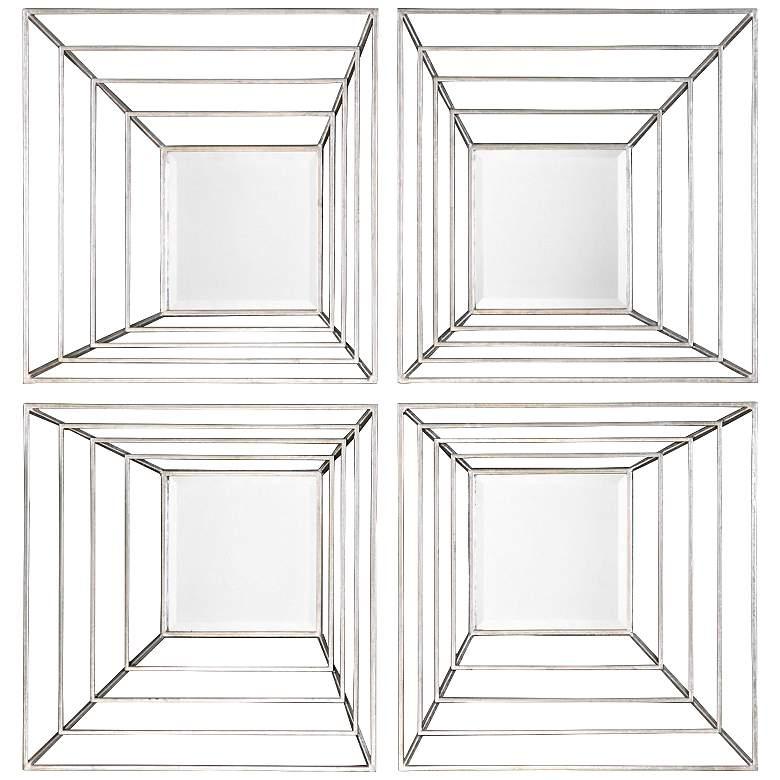 "Uttermost Denain 22"" Square Wall Mirrors Set of 4"