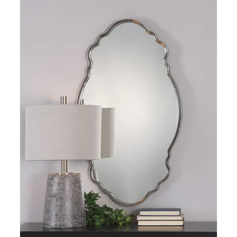 "Samia Metallic Silver Iron 20 3/4"" x 36"" Oval Wall Mirror"