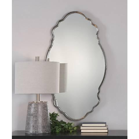"Uttermost Samia Iron 20 3/4"" x 36"" Oval Wall Mirror"