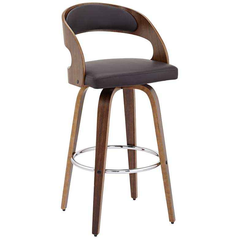 """Shelly Modern 30"""" Brown Faux Leather Swivel Bar Stool"""