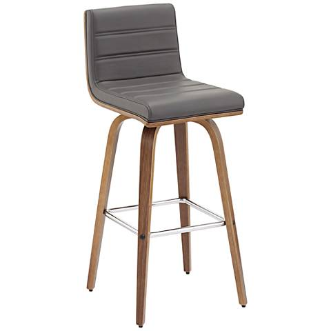 Vienna 30 Quot Gray Faux Leather And Walnut Swivel Bar Stool