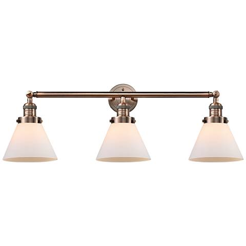 "Cone Collection 32"" Wide Three-Light Bath Light in Copper"