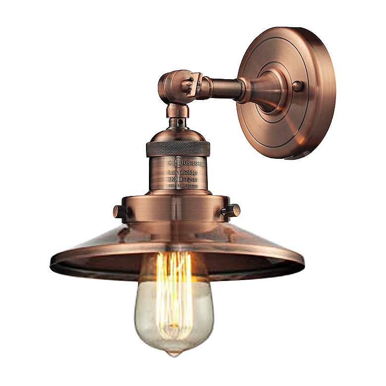 Railroad Antique Copper 8 High Metal Shade Wall Sconce