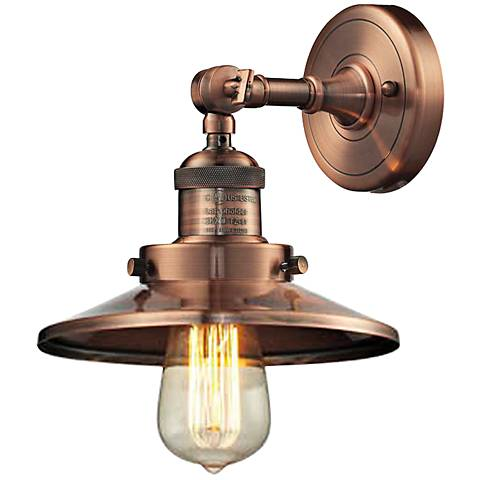 """Railroad Antique Copper 8""""High Metal Shade Wall Sconce"""