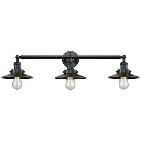 "Railroad Oiled Bronze Shades 32"" Wide 3-Light Bath Light"