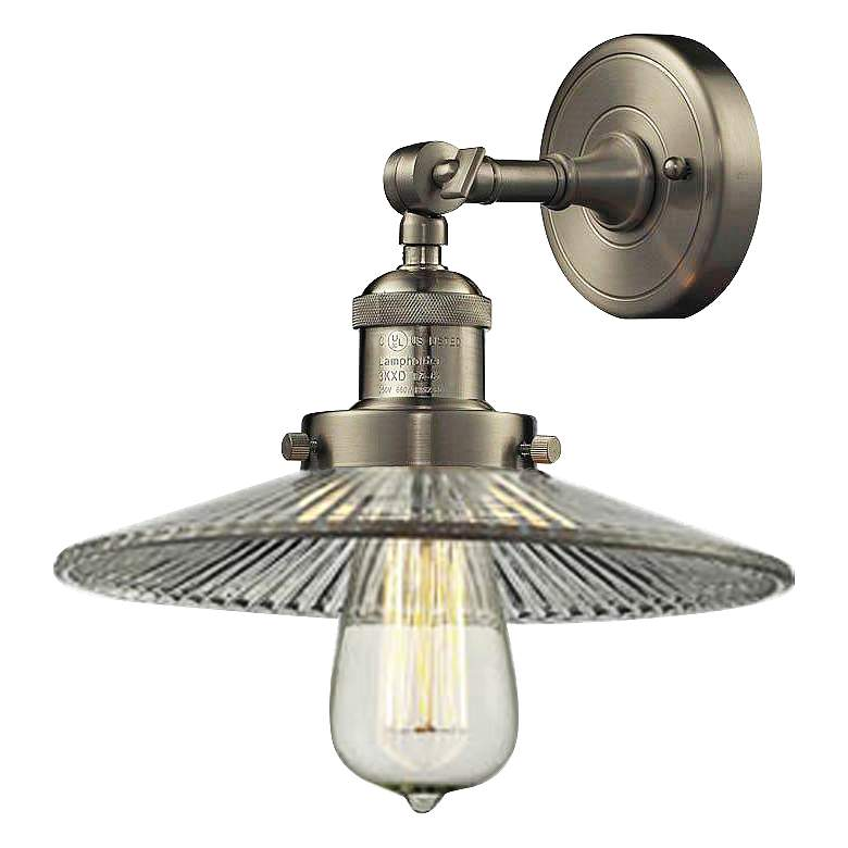 """Halophane Collection Satin Nickel 10"""" Wide Wall Sconce"""