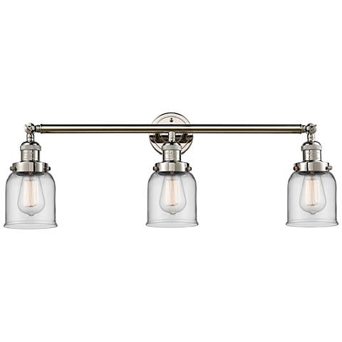 "Small Bell 30"" Wide Clear Glass Polished Nickel Bath Light"
