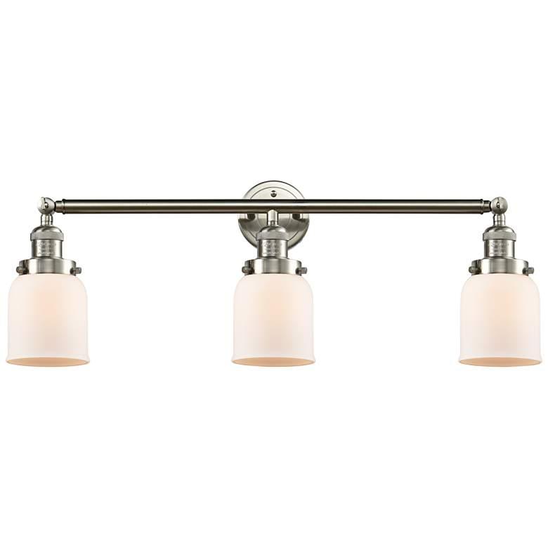 "Small Bell 30"" Wide White Glass Satin Nickel Bath Light"