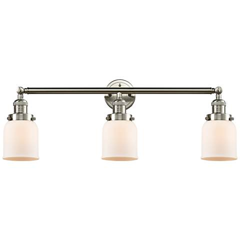 "Small Bell 30"" Wide White Glass Satin Nickel Bath Light"