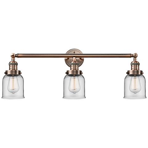 """Small Bell 30"""" Wide Clear Glass Antique Copper Bath Light"""