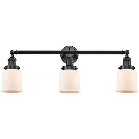 "Small Bell 30"" Wide Matte White - Oil Bronze Bath Light"