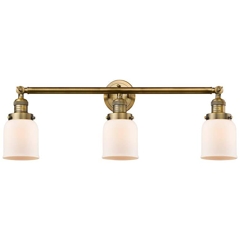"Small Bell 30"" Wide Matte White - Brushed Brass Bath Light"