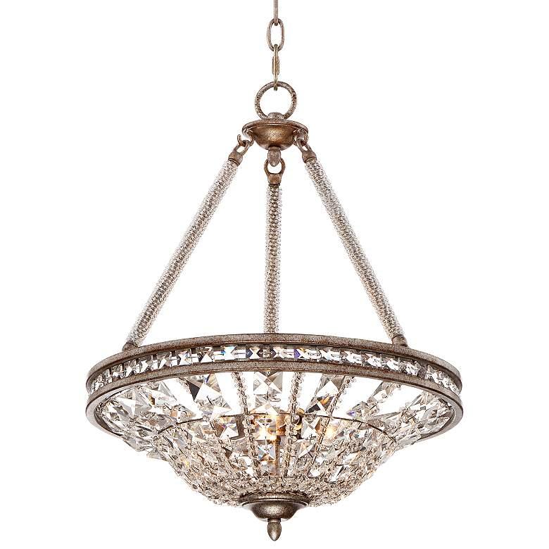 """Carlita 16"""" Wide Silver Leaf  Crystal Pendant"""
