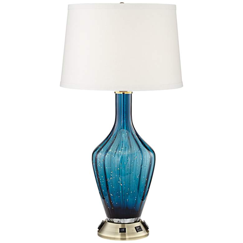 1G902 - Chrome Metal And Blue Glass Accent Table Lamp
