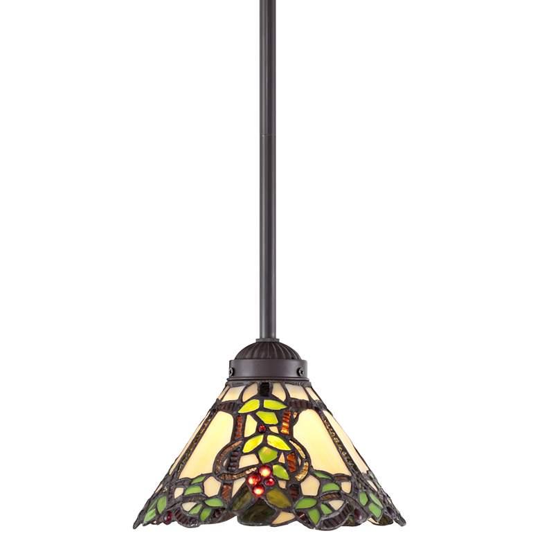"Garden Vine 8"" Wide Tiffany Style Mini Pendant Light"