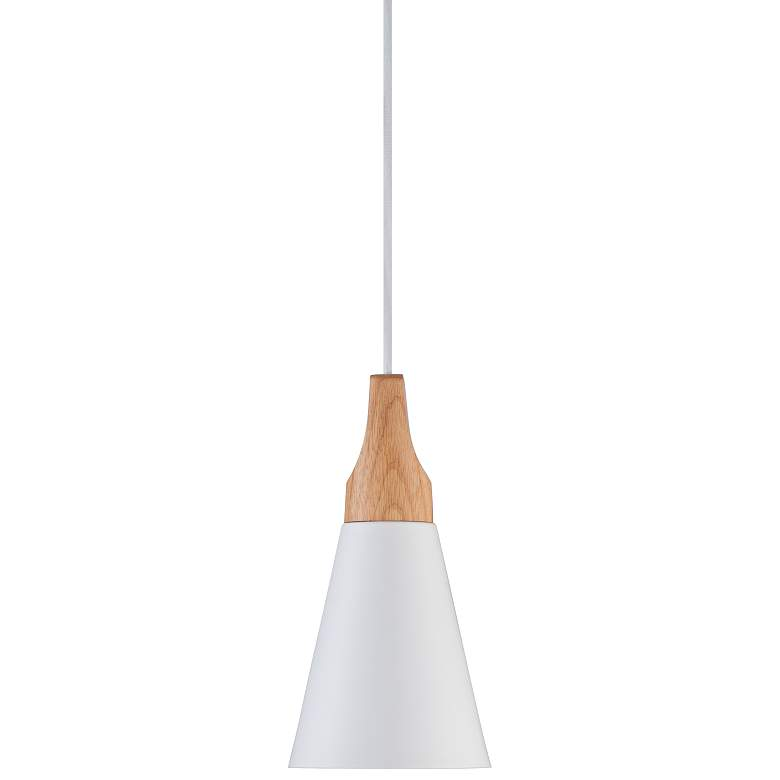 "Felton White Aluminum and Wood 5 1/2"" Wide Cone Mini Pendant"