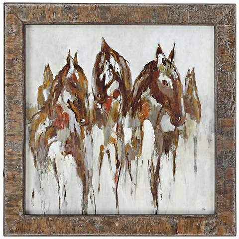 """Equestrian In Browns and Gold 36 1/4"""" Square Frame Wall Art"""