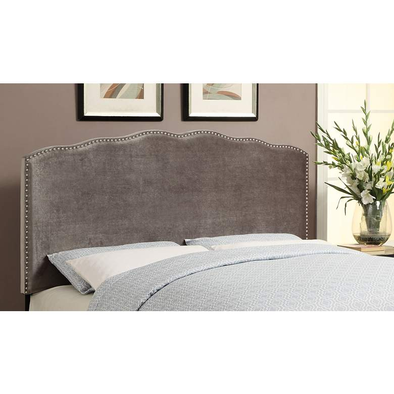 Berkley Silver Shimmer Velvet Upholstered Queen Headboard