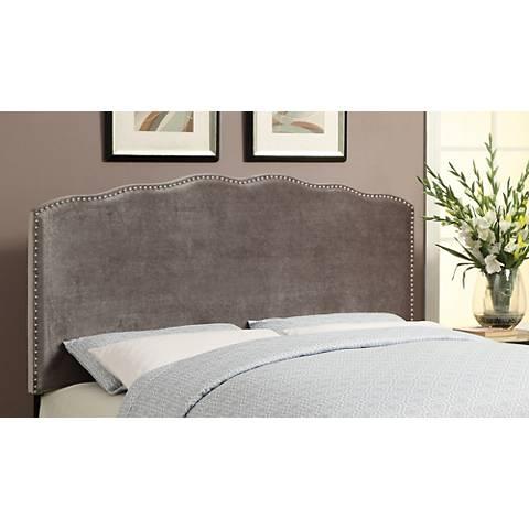 Berkley Silver Shimmer Velvet Upholstered Queen Headboard