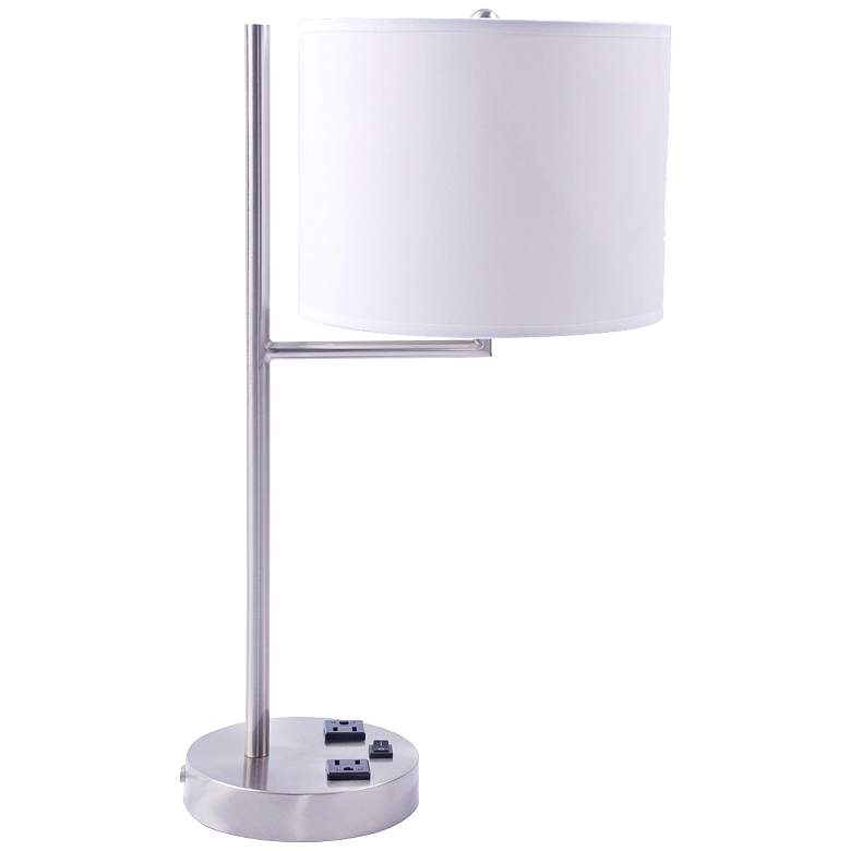 Livonia White Drum 2-Outlet Brushed Nickel Desk Lamp