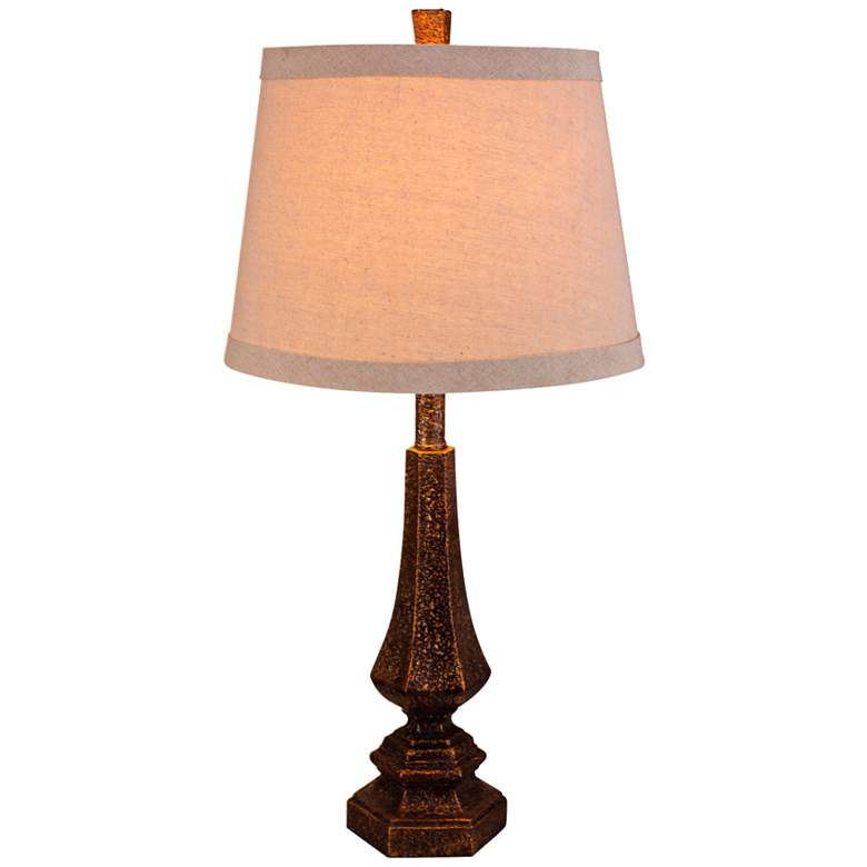 Beulah Antique Gold Hexagonal Urn Table Lamp