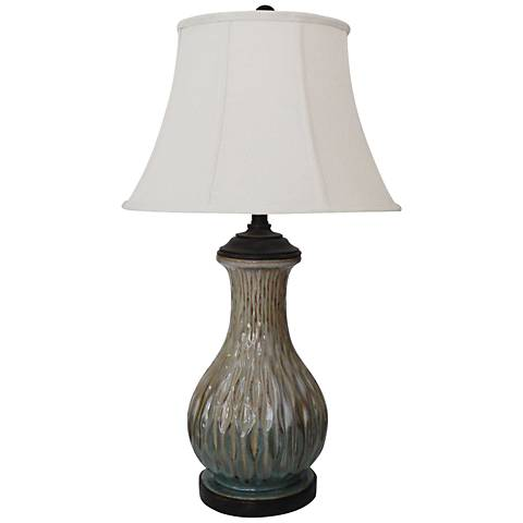 Steeped 3-Tone Organic Dimpled Green Ceramic Table Lamp