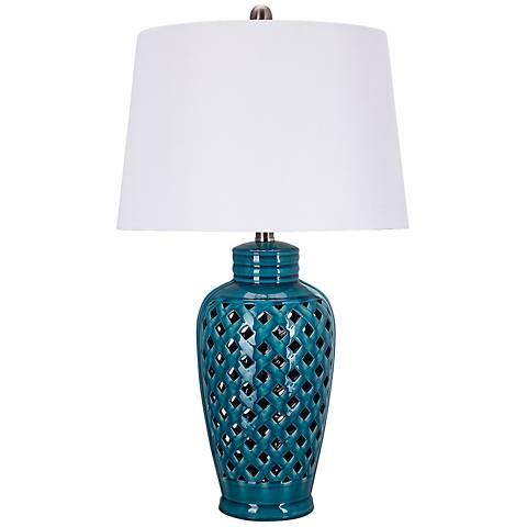 Xavierra Cool Blue Openwork Lattice Ceramic Table Lamp