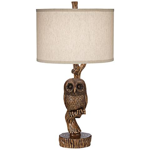 Night Owl Aged Fruitwood Accent Table Lamp