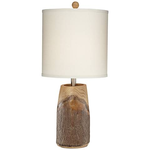 Scarlet Faux Brown Wood Table Lamp