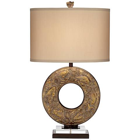 Koi Fish Antique Gold Open Ring Table Lamp