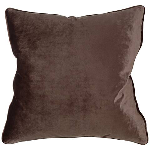 "Tessa Espresso Velvet 18"" Square Decorative Pillow"