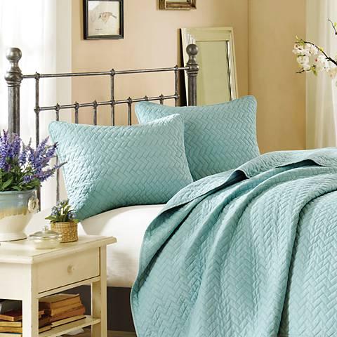 Hampton Hill Velvet Touch Sky Blue Coverlet Set