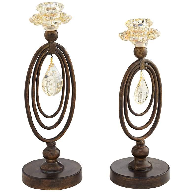 Obelisque Crystal Taper Candle Holder Set of 2