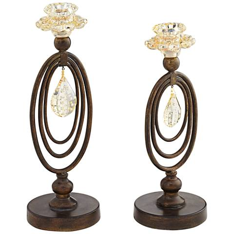 Obelisque Crystal Taper Candle Holder Set of 2
